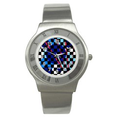 Blue Abstraction Stainless Steel Watch by Valentinaart