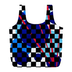 Blue Abstraction Full Print Recycle Bags (l)  by Valentinaart