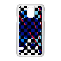 Blue Abstraction Samsung Galaxy S5 Case (white) by Valentinaart