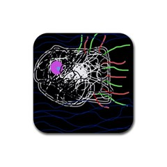 Neon Fish Rubber Square Coaster (4 Pack)  by Valentinaart