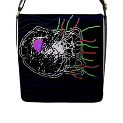 Neon Fish Flap Messenger Bag (l)  by Valentinaart