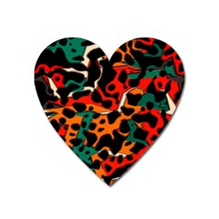 Metallic Shapes In Retro Colors                                                                                      			magnet (heart) by LalyLauraFLM