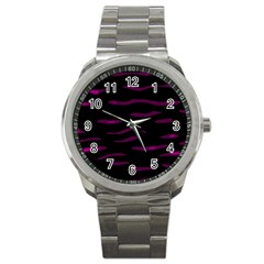 Purple And Black Sport Metal Watch by Valentinaart