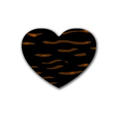 Orange And Black Heart Coaster (4 Pack)  by Valentinaart