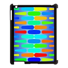 Colorful Shapes On A Blue Background                                                                                      			apple Ipad 3/4 Case (black) by LalyLauraFLM
