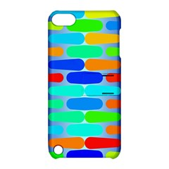 Colorful Shapes On A Blue Background                                                                                      			apple Ipod Touch 5 Hardshell Case With Stand by LalyLauraFLM