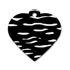 Black And White Dog Tag Heart (two Sides) by Valentinaart
