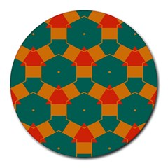 Honeycombs And Triangles Pattern                                                                                       			round Mousepad by LalyLauraFLM