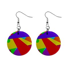 Colorful Abstract Design Mini Button Earrings by Valentinaart