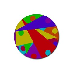 Colorful Abstract Design Rubber Coaster (round)  by Valentinaart
