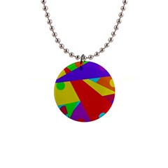 Colorful Abstract Design Button Necklaces by Valentinaart
