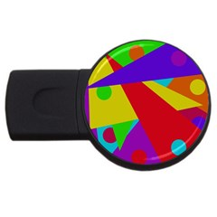Colorful Abstract Design Usb Flash Drive Round (4 Gb)  by Valentinaart