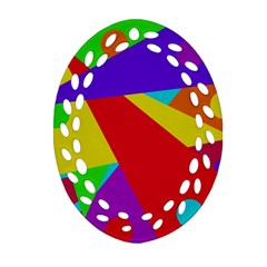 Colorful Abstract Design Ornament (oval Filigree)  by Valentinaart