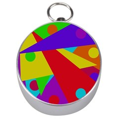 Colorful Abstract Design Silver Compasses by Valentinaart