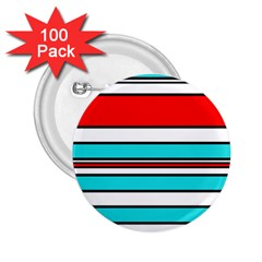 Blue, Red, And White Lines 2 25  Buttons (100 Pack)