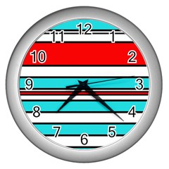 Blue, Red, And White Lines Wall Clocks (silver)  by Valentinaart