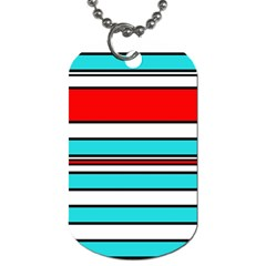 Blue, Red, And White Lines Dog Tag (one Side) by Valentinaart