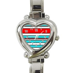 Blue, Red, And White Lines Heart Italian Charm Watch by Valentinaart