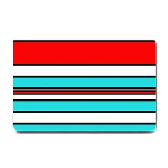 Blue, Red, And White Lines Small Doormat  by Valentinaart