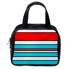 Blue, Red, And White Lines Classic Handbags (one Side) by Valentinaart