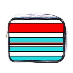 Blue, Red, And White Lines Mini Toiletries Bags by Valentinaart