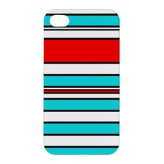 Blue, Red, And White Lines Apple Iphone 4/4s Hardshell Case by Valentinaart