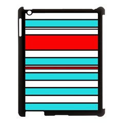 Blue, Red, And White Lines Apple Ipad 3/4 Case (black) by Valentinaart
