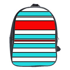 Blue, Red, And White Lines School Bags (xl)  by Valentinaart