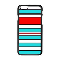 Blue, Red, And White Lines Apple Iphone 6/6s Black Enamel Case by Valentinaart