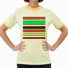 Green, Orange And Yellow Lines Women s Fitted Ringer T Shirts by Valentinaart
