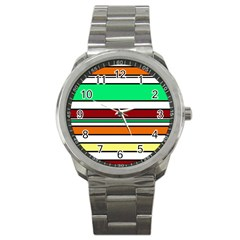 Green, Orange And Yellow Lines Sport Metal Watch by Valentinaart
