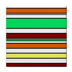 Green, Orange And Yellow Lines Face Towel by Valentinaart