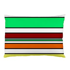 Green, Orange And Yellow Lines Pillow Case by Valentinaart