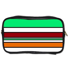 Green, Orange And Yellow Lines Toiletries Bags by Valentinaart
