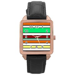 Green, Orange And Yellow Lines Rose Gold Leather Watch