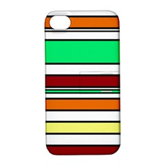 Green, Orange And Yellow Lines Apple Iphone 4/4s Hardshell Case With Stand by Valentinaart