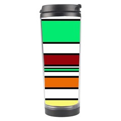 Green, Orange And Yellow Lines Travel Tumbler by Valentinaart