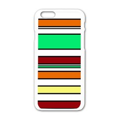 Green, Orange And Yellow Lines Apple Iphone 6/6s White Enamel Case by Valentinaart