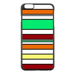 Green, Orange And Yellow Lines Apple Iphone 6 Plus/6s Plus Black Enamel Case by Valentinaart