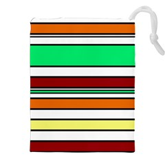 Green, Orange And Yellow Lines Drawstring Pouches (xxl) by Valentinaart