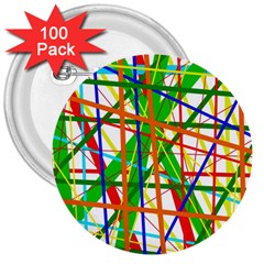 Colorful Lines 3  Buttons (100 Pack)  by Valentinaart