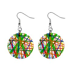 Colorful Lines Mini Button Earrings by Valentinaart