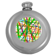 Colorful Lines Round Hip Flask (5 Oz) by Valentinaart