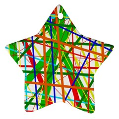 Colorful Lines Star Ornament (two Sides)  by Valentinaart