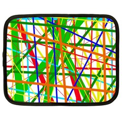 Colorful Lines Netbook Case (large) by Valentinaart