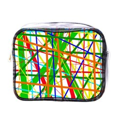 Colorful Lines Mini Toiletries Bags by Valentinaart