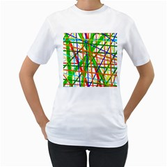 Colorful Lines Women s T Shirt (white)  by Valentinaart