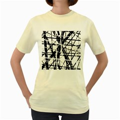 Black And White Abstract Design Women s Yellow T Shirt by Valentinaart