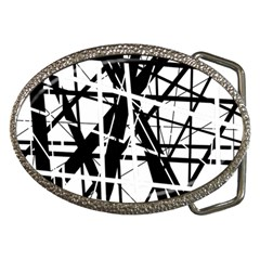 Black And White Abstract Design Belt Buckles by Valentinaart