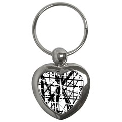 Black And White Abstract Design Key Chains (heart)  by Valentinaart